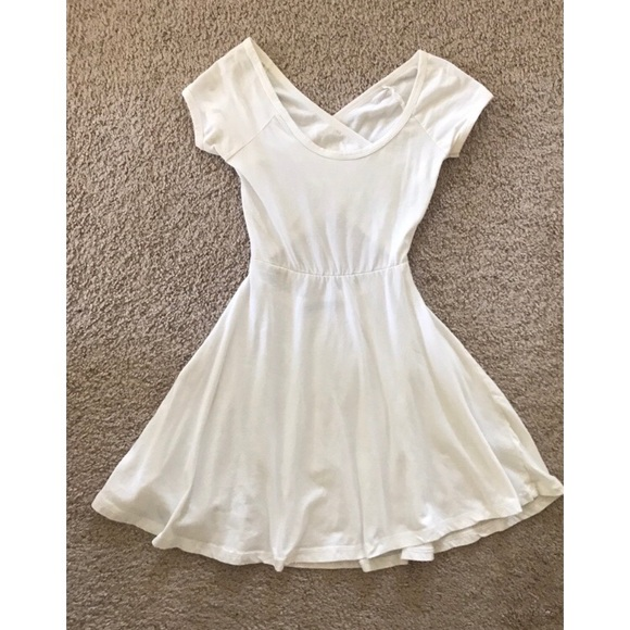 fdf6995815 Brandy Melville Dresses | White Fit And Flare Cross Back Dress ...